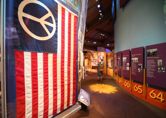 A peace flag on display inside the museum at Bethel Woods Center for the Arts on July 17, 2018.