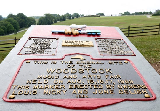 The monument to Woodstock in the field where the festival took place at Bethel Woods Center for the Arts on July 17, 2018.