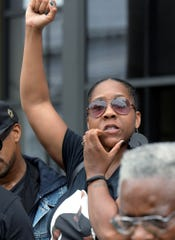 Tamika Williams, a cousin of Everett Palmer Jr., shows support during a news  conference at the York County Judicial Center on Monday, July 23, 2018. Family members and legal counsel are seeking information regarding Palmer's death while in custody at York County Prison in April. Bill Kalina photo