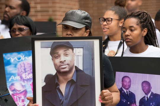In this file photo from July 23, 2018, family members and supporters of Everett Palmer Jr., who died while in custody at York County Prison, gather outside the York County Judicial Center and demand answers about the circumstances of his death. They stated that they do not believe he took his own life. He was 41.