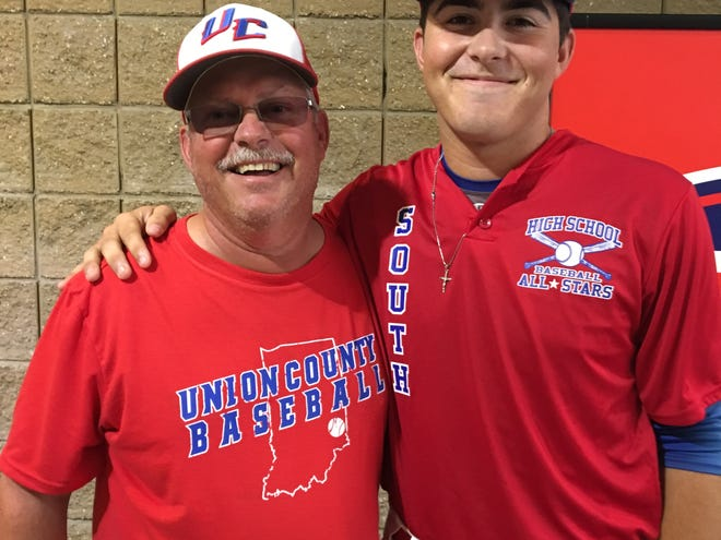 Union County High School baseball coach Jeff Mathews, left, and pitcher Joey Weller, represented the Patriots at the IHSBCA North-South All-Star series. Weller pitched two scoreless innings in the South's 8-4 win Sunday.