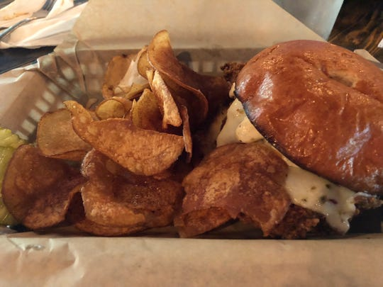 Sandwiches comprise about half the regular menu.  The spicy fried chicken sandwich comes with pepper jack cheese and jalapeño aioli on a brioche roll.