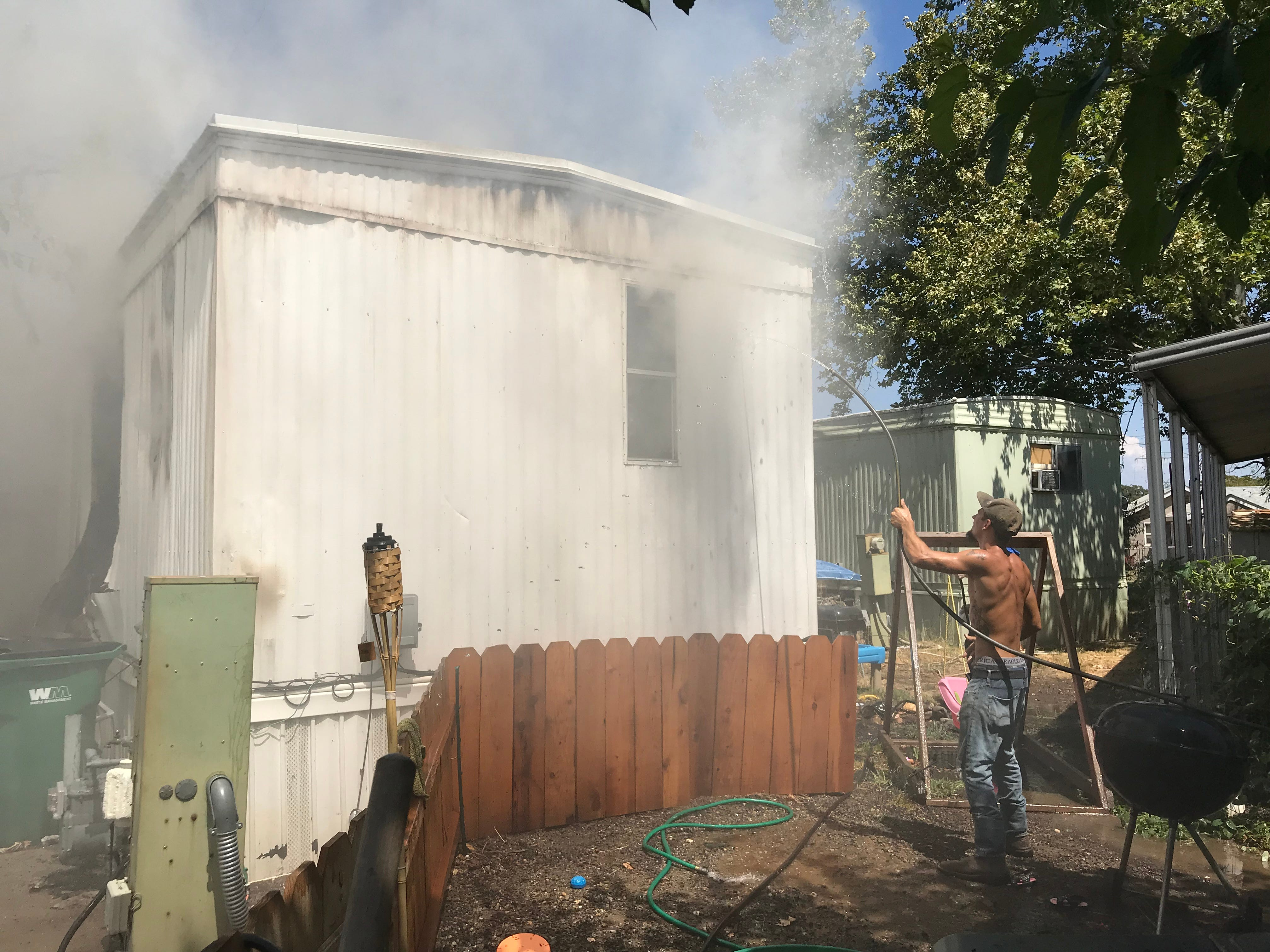 Fire destroyed a mobile home in Cottonwood on Monday.
