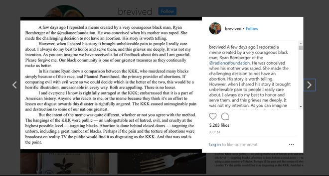 Image of Bill Johnson's apology on his Instagram account