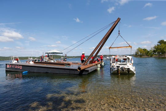 The duck boat that sank in Table Rock Lake has been raised to the surface on Monday, July 23, 2018.
