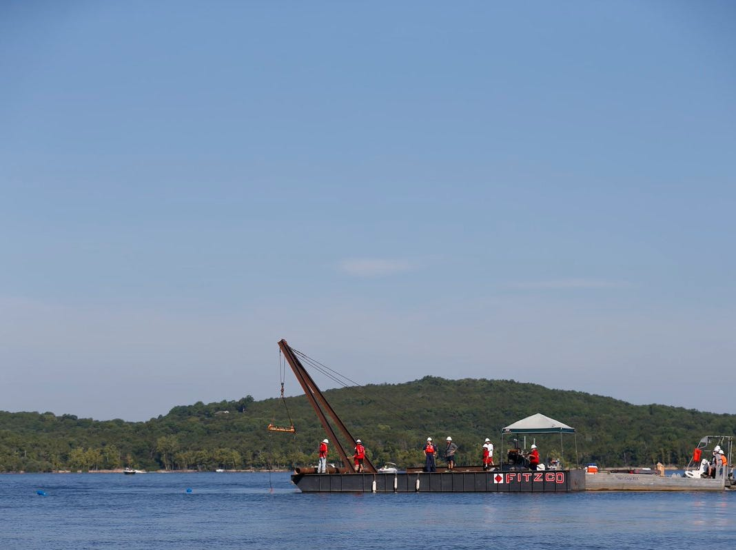 Salvage operations for the duck boat in Table Rock Lake have begun on Monday, July 23, 2018.