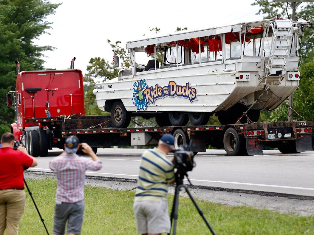The duck boat that sank on Table Rock Lake has been hauled away on Monday, July 23, 2018.