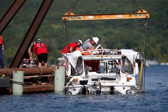 The duck boat is brought up to the surface of Table Rock Lake in this file photo.