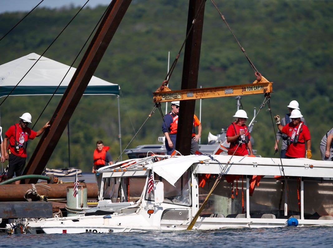The duck boat has been brought up to the surface of Table Rock Lake. Crews continue to work on the salvage operation.