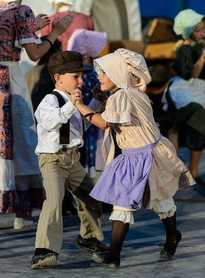 Two young performers dance during an act that will be included in the July 24, 2018, production of The Pioneer Legacy in St. George.