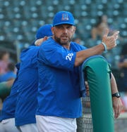 Rockland Boulders manager Jamie Keefe talks to his team during a home game July 19.
