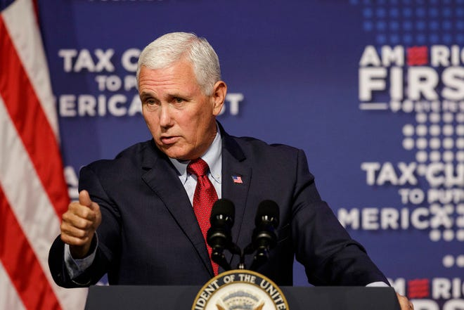 Vice President Mike Pence speaks at a tax policy event hosted by America First Policies at Lee University's Pangle Hall on Saturday, July 21, 2018, in Cleveland, Tenn. Pence will host a fundraiser in Philadelphia today for US Senate candidate Lou Barletta.