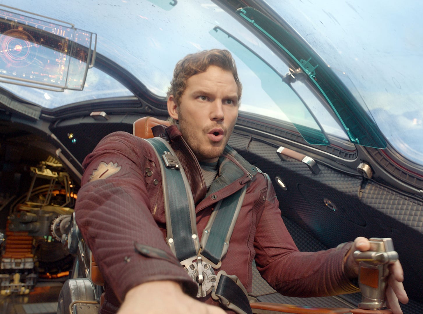 """FOR USA TODAY SUMMER MOVIE PREVIEW RUNNING 4/25/14 Peter Quill/Star-Lord (Chris Pratt) in a scene fem the motion picture """"Guardians Of The Galaxy."""" CREDIT: Marvel [Via MerlinFTP Drop]"""