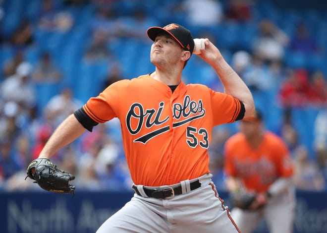 TORONTO, ON - JULY 21: Zach Britton #53 of the Baltimore Orioles delivers a pitch in the eighth inning during MLB game action against the Toronto Blue Jays at Rogers Centre on July 21, 2018 in Toronto, Canada. (Photo by Tom Szczerbowski/Getty Images)