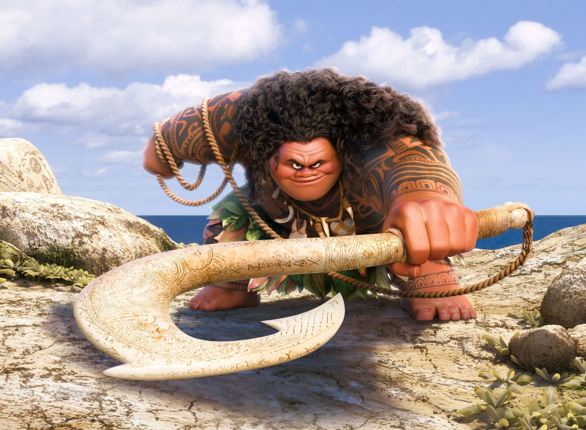 One of the keys to Maui (voiced by Dwayne Johnson) getting his mojo back is finding his magical fish hook.