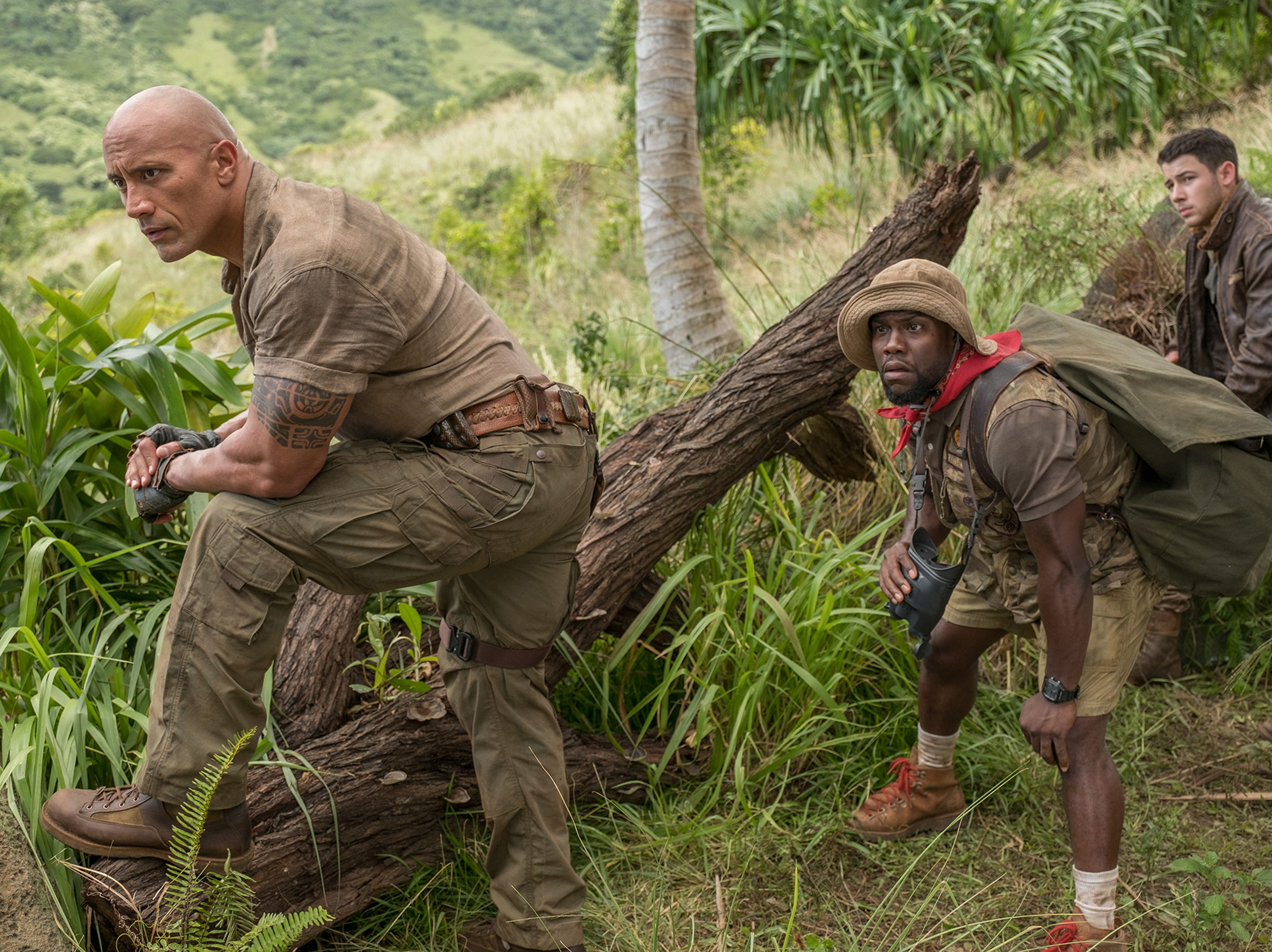 not to run until after the first look on 9/19/17! Dwayne Johnson, Kevin Hart and Nick Jonas star in JUMANJI: WELCOME TO THE JUNGLE ORG XMIT: Dwayne Johnson (Finalized);Kevin [Via MerlinFTP Drop]