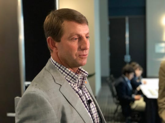 Clemson head coach Dabo Swinney speaks to the media at the South Carolina Coaches for Charity event in Greenville on July 24, 2018.
