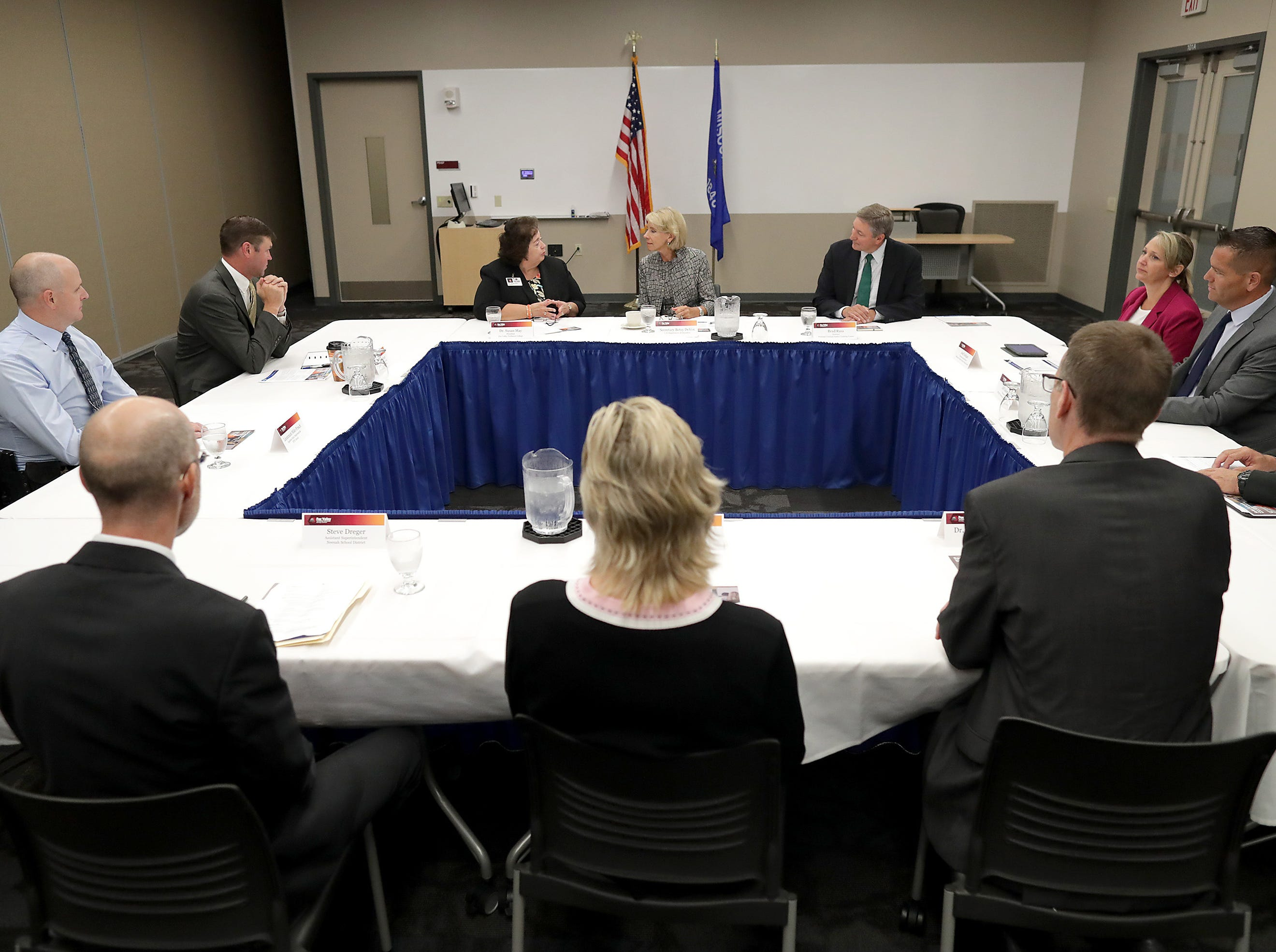 U.S. Secretary of Education Betsy DeVos during roundtable with Fox Valley Technical College leadership, Criminal Justice Training Center staff, local superintendents and local school resource officers at Fox Valley Technical CollegeÕs Public Safety Training Center on Tuesday, July 24, 2018 in Greenville, Wis. Wm. Glasheen/USA TODAY NETWORK-Wisconsin