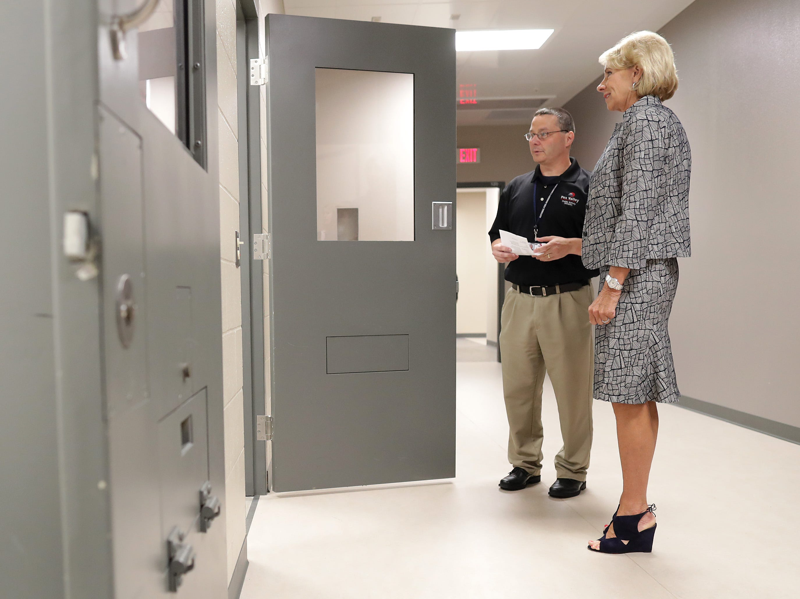 U.S. Secretary of Education Betsy DeVos takes a tour, led by Associate Dean Chris Fischer, to see firsthand how Fox Valley Technical CollegeÕs Public Safety Training Center is merging classroom lessons with reality-based hands-on training on Tuesday, July 24, 2018 in Greenville, Wis. Wm. Glasheen/USA TODAY NETWORK-Wisconsin