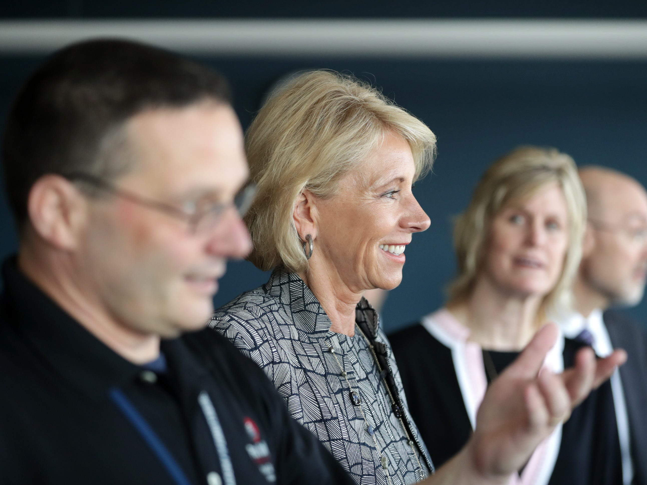U.S. Secretary of Education Betsy DeVos takes a tour, led by Associate Dean Chris Fischer, to see firsthand how Fox Valley Technical College's Public Safety Training Center is merging classroom lessons with reality-based hands-on training on Tuesday, July 24, 2018 in Greenville, Wis.  Wm. Glasheen/USA TODAY NETWORK-Wisconsin