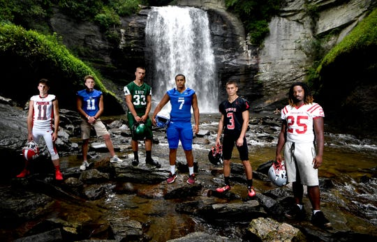 Players in the Mountain Six conference are ready for football season to begin. Pictured from left: Franklin's Blake Gibson, Smoky Mountain's Brett Hall, East Henderson's Korbit Collins, Brevard's Kane Deshauteurs, Pisgah's Tanner Wike, and Hendersonville's TyÕrese Hunt.