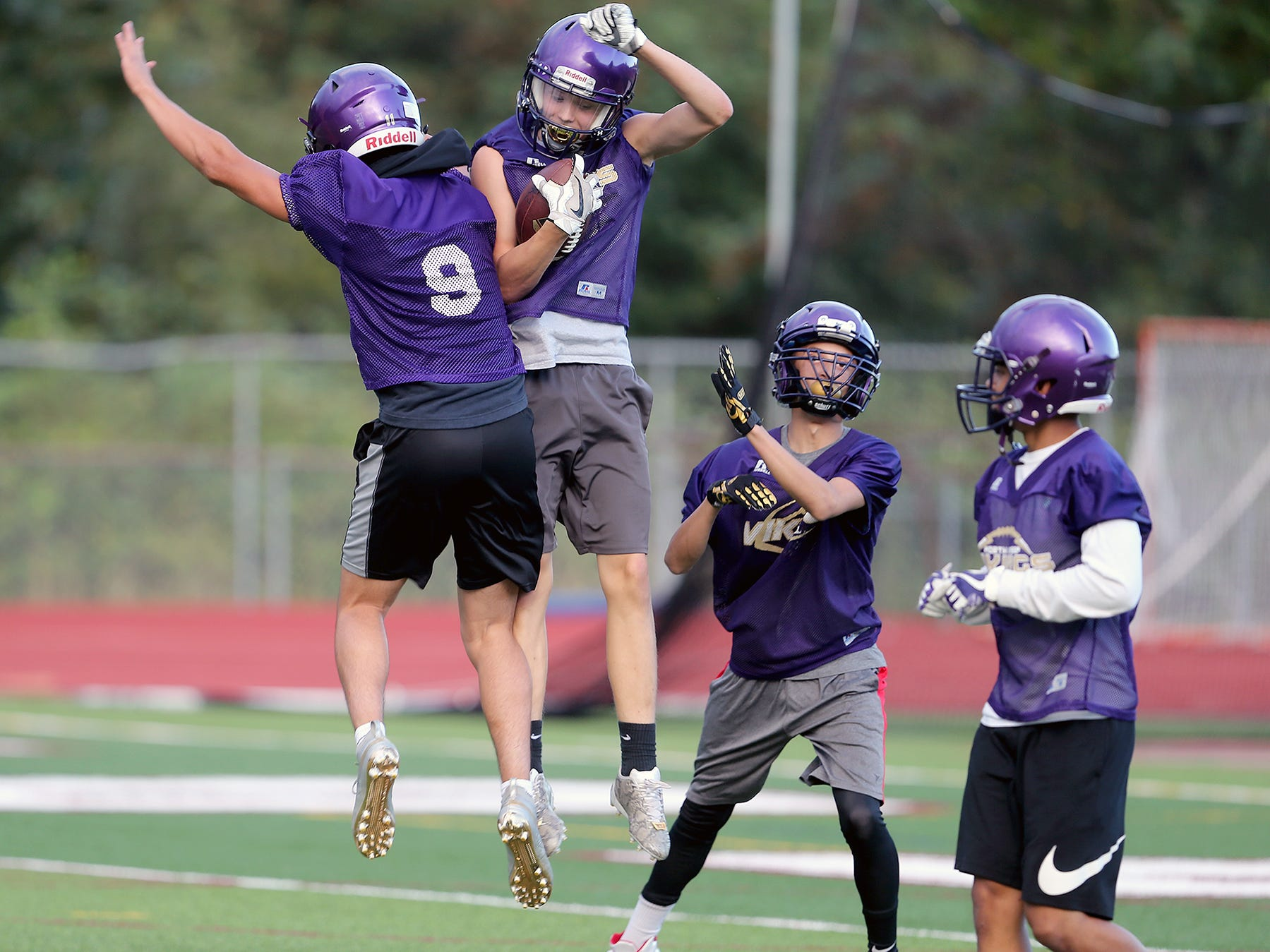 North Kitsap touchdown at the 7 on 7 football at South Kitsap High School in Port Orchard on Wednesday, July 18, 2018.