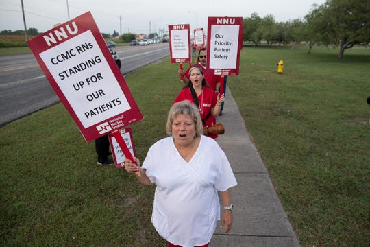 Registered nurses and supporters demonstrate outside Corpus Christi Medical Center-Bay Area over staffing on Tuesday, July 24, 2018.