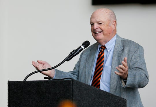 Cincinnati Bengals team owner Mike Brown thanks guests for attending during Bengals media day at Paul Brown Stadium in downtown Cincinnati on Tuesday, July 24, 2018.
