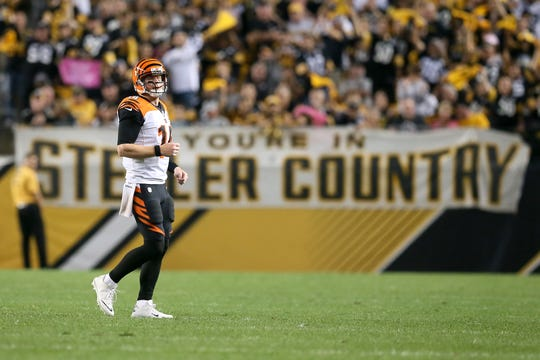 Cincinnati Bengals quarterback Andy Dalton (14) reacts after a stalled series in the fourth quarter during the Week 7 NFL game between the Cincinnati Bengals and the Pittsburgh Steelers, Sunday, Oct. 22, 2017,  at Heinz Field in Pittsburgh.