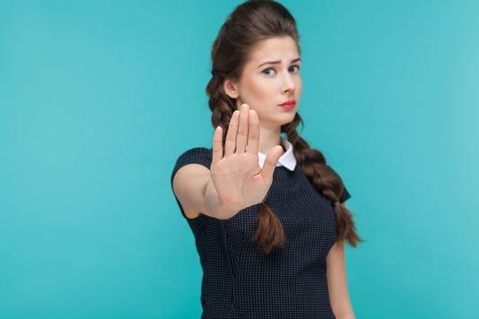 Body Language Bad Emotion Serious Woman Showing Stop Sign At Camera