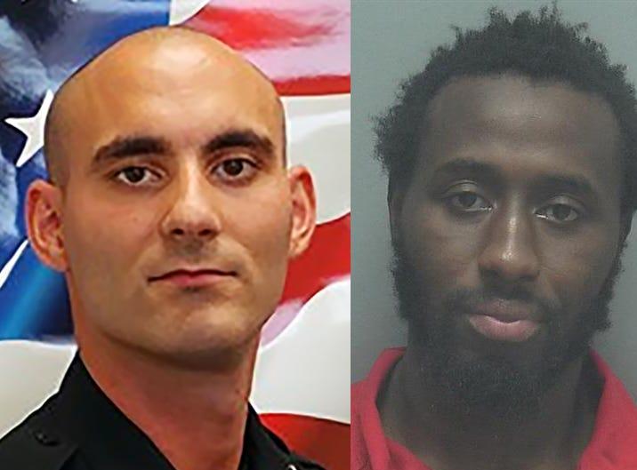 Officer Adam Jobbers-Miller and Wisner Desmaret.