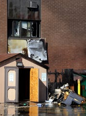 A fire broke out at Monroe Plaza Apartments in downtown Green Bay on July 24, 2018. Initial reports indicate the blaze started in a Dumpster and spread to the building. Sarah Kloepping/USA TODAY NETWORK-Wisconsin