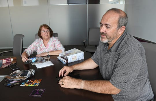 Allen and Sarajean Harmon talk about their daughter Valerie Tieman, Monday, July 24, 2018, who was killed in Maine in 2016 by her husband Luc Tieman.