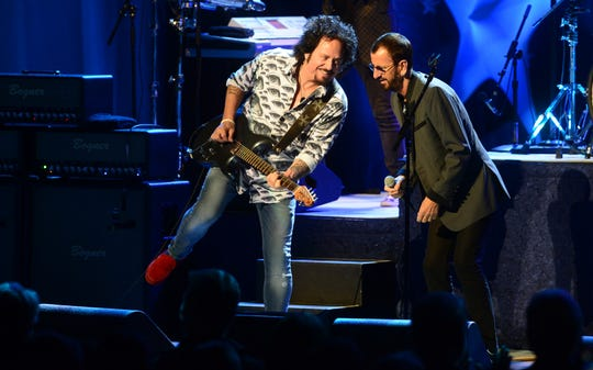 Ringo Starr, right, and Steve Lukather of the All Starr Band perform at the Peace Center in Greenville, South Carolina.