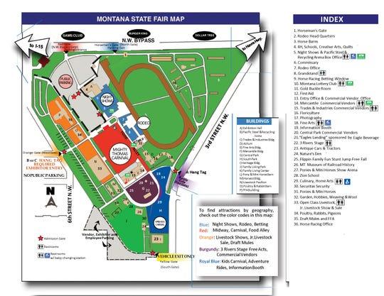 Montana State Fair 2018 map of  Montana ExpoPark.