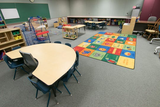 A HeadStart/Great Start Readiness Program classroom is ready for students Tuesday, July 24, 2018 in the former Southeast Elementary.