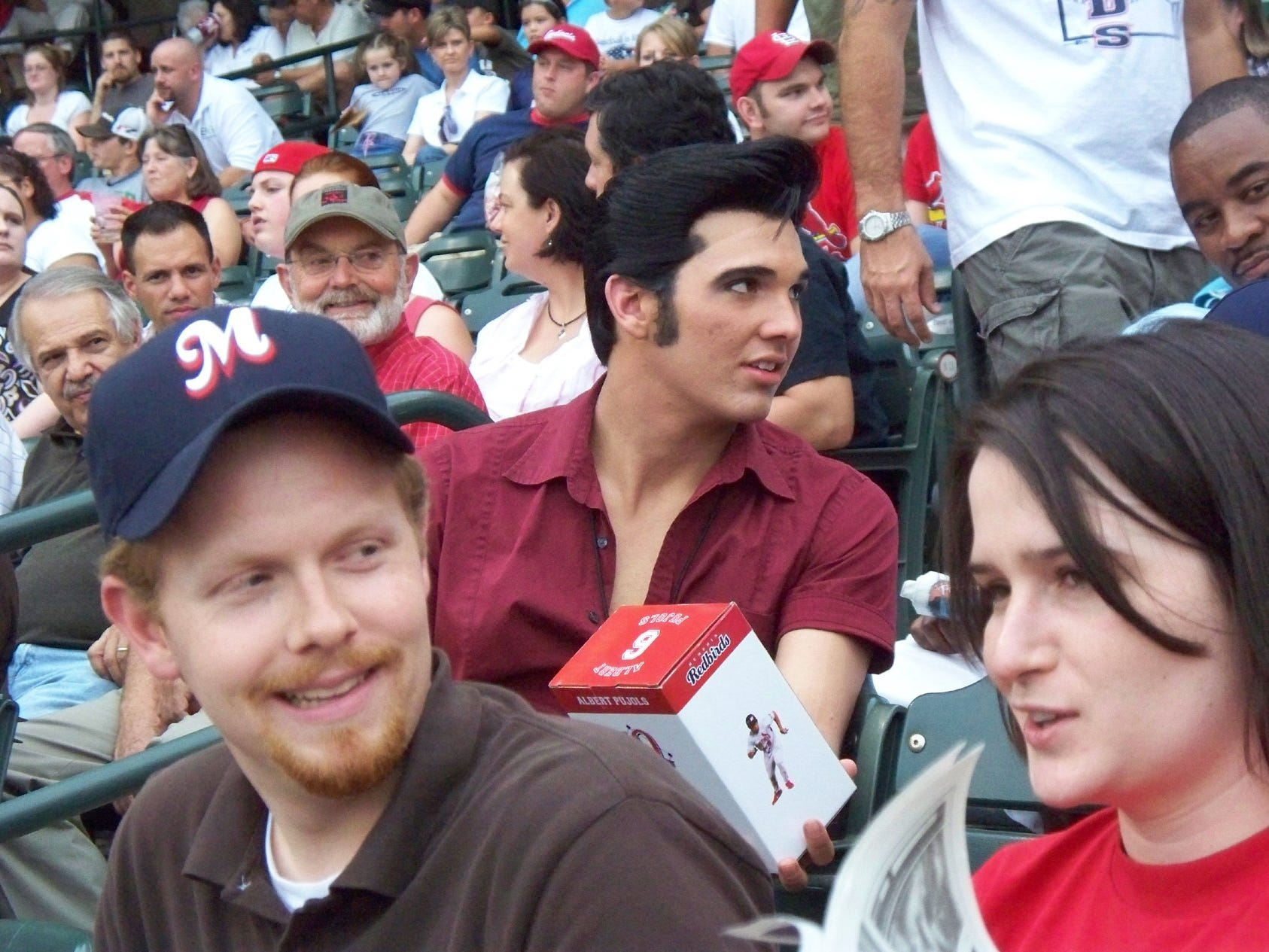 Germantown's Bill Kabel snapped a picture of an Elvis impersonator enjoying a Redbirds game during Elvis week. Kabel enjoys taking pictures, especially at the Redbirds' games.