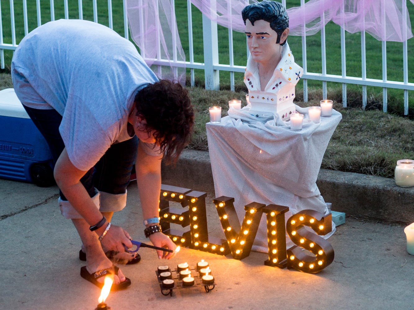 "August 15, 2017 - Elvis Presley fans  came out by the thousands to pay homage at the candlelight vigil during ""Elvis Week"" that marks the 40th anniversary of Presley's Aug. 16 death."