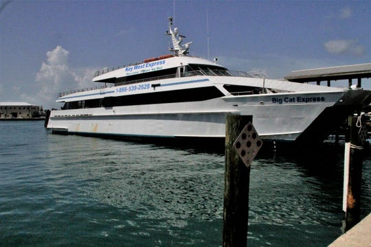 The Key West Express docks in Key West after about a 3.5 hour trip from Marco Island.