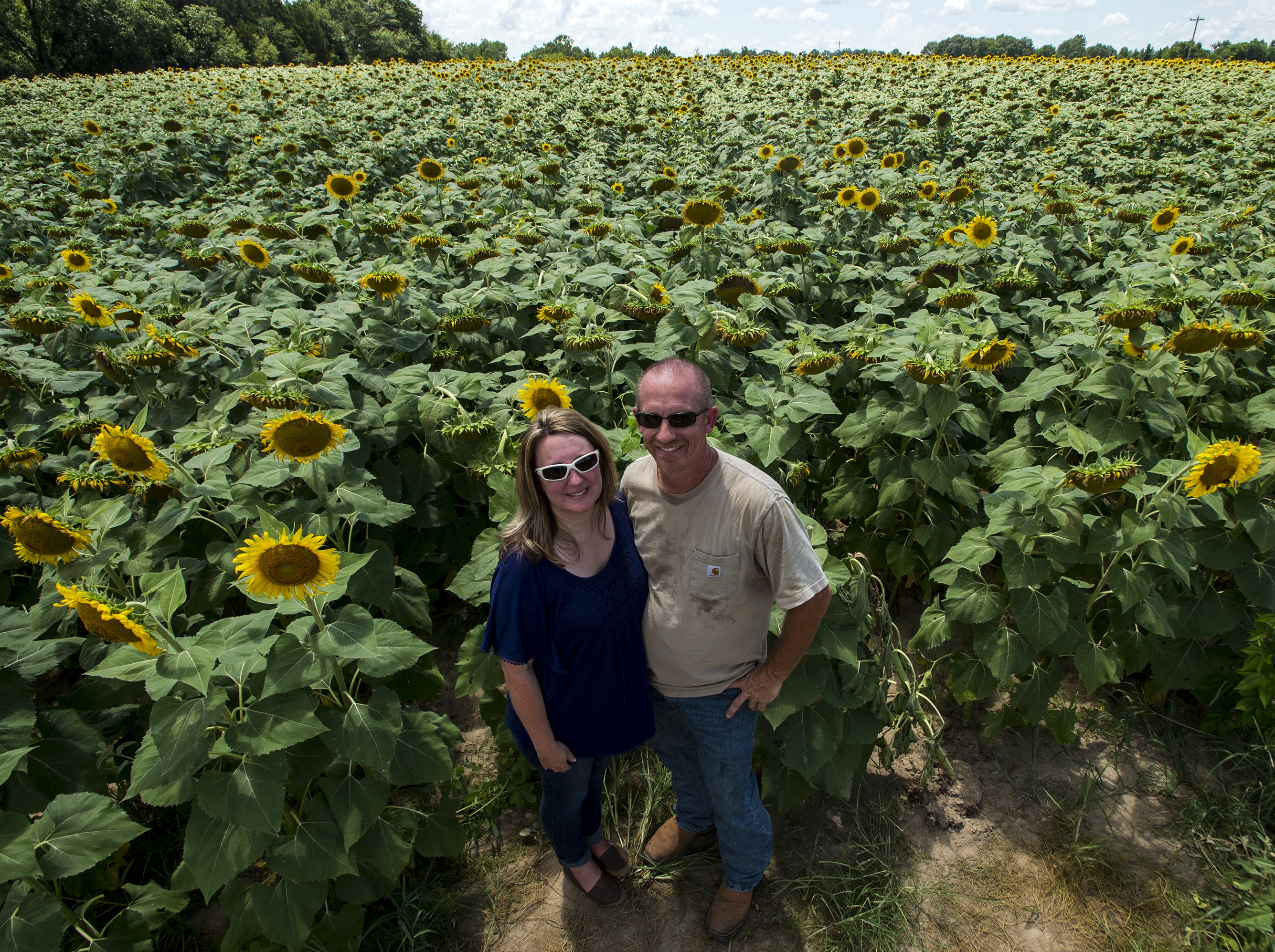 Kim and Todd Sheridan stand in their 42-acre sunflower field about six miles west of Autaugaville. The colorful field has attracted many visitors interested in taking pictures.