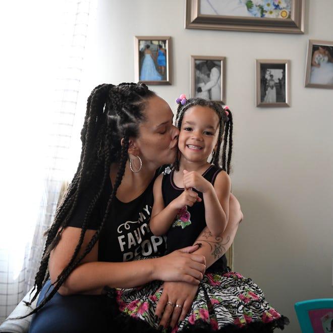 Jennifer Torres and her daughter Dominique, 4, in their home in Camden, NJ on Tuesday, July 10, 2018. (Danielle Parhizkaran/@danielleparhiz)