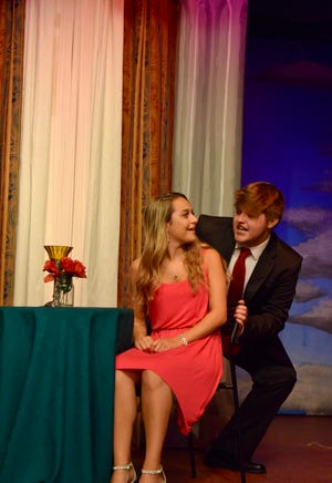 "Elle (played by Ashley Hull) and her beau, Warner (Max Wagner), discuss their future together in a scene from ""Legally Blonde: The Musical.""  The stage version of the movie about a sorority girl who impulsively decides to attend Harvard Law School runs July 28 through August 12 at Pax Amicus Castle Theatre in Budd Lake."