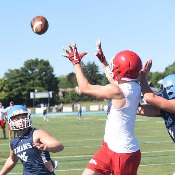 Lakeland's Jude Padovano makes a catch during the 7-on-7 at Wayne Valley last month.