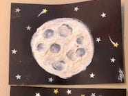Some of the masterpieces produced at the National Moon Day celebration at the Sunspot Astronomy and Visitor Center.