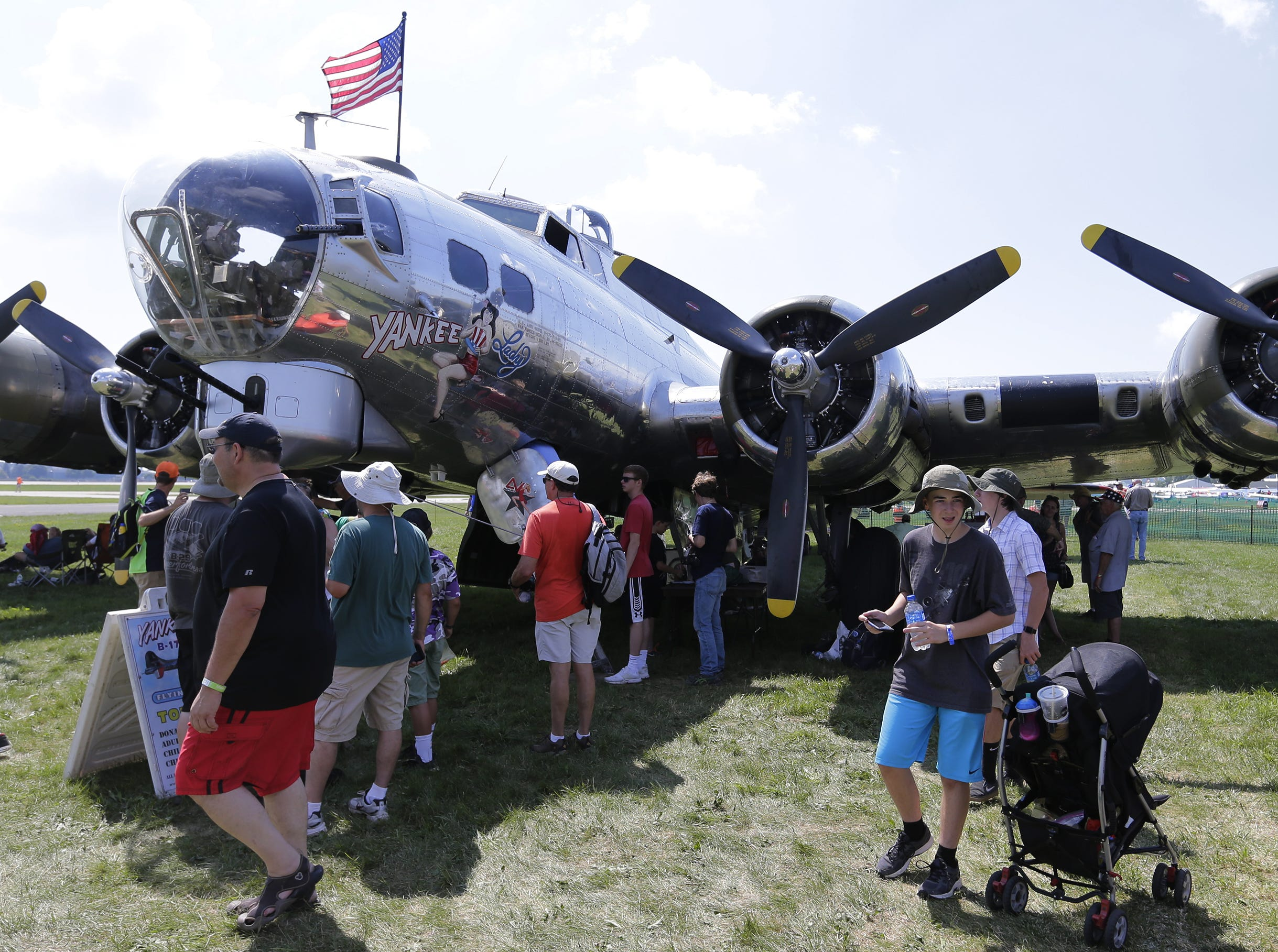 The Yankee Lady B-17G was a popular warbird in the warbird area of AirVenture, Tuesday, July 24, 2018, in Oshkosh, Wis.  The 66th annual Experimental Aircraft Association Fly-In Convention, AirVenture 2018 draws over 500,000 people annually to the area.  The convention runs through July 29. Joe Sienkiewicz/USA Today NETWORK-Wisconsin