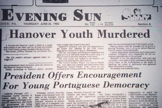 An article from the June 26, 1980 edition of the Evening Sun talks about the murder of 10-year-old Jeffrey Utz.