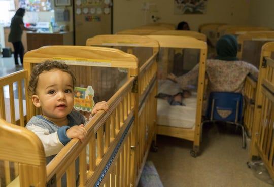 Infant Milo Wilson Brandt in his crib at the Inspire Kids Montessori preschool on July 24, 2018.