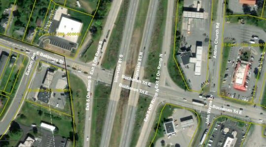 A close-up of the area of and around Interstate 81 exit 5 in Antrim Township, as it appears on the Franklin County tax parcel map at https://gis.franklincountypa.gov/taxparcelviewer/
