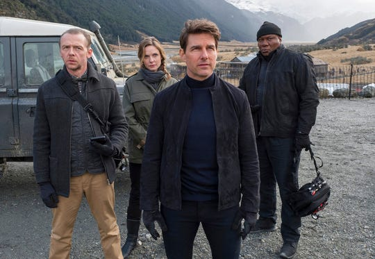 "From left, Simon Pegg, Rebecca Ferguson, Tom Cruise and Ving Rhames star in ""Mission: Impossible - Fallout."" The movie opens July 26 at Regal West Manchester Stadium 13 and R/C Hanover Movies."
