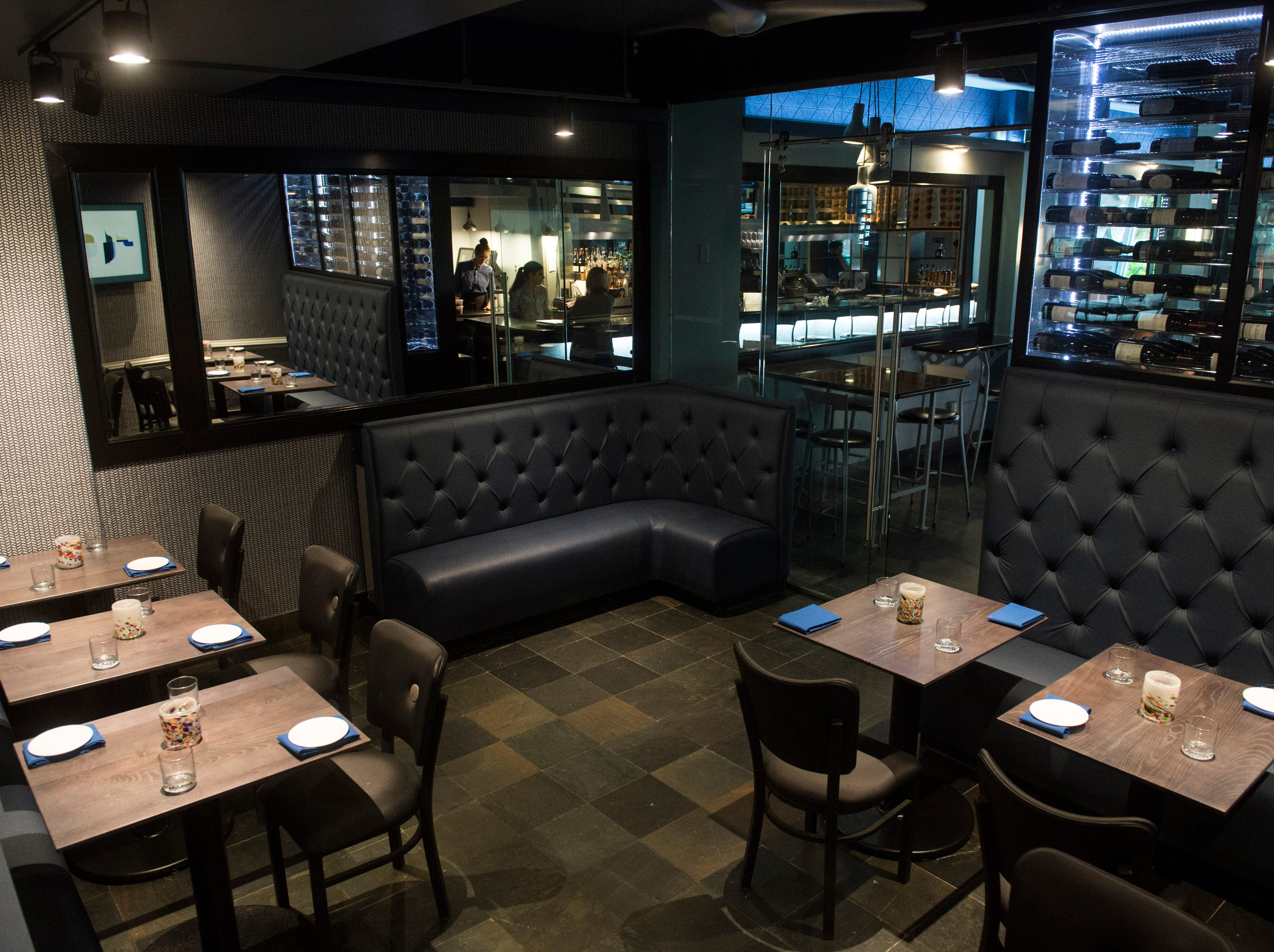 A bistro sits on the other side of the bar at The Left Bank. The room, which was just created and has a glass door entrance, can be rented out for parties.